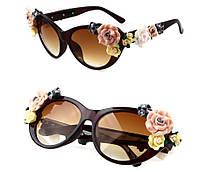 Модные женские солнцезащитные Очки Dolce Gabbana Flowers с объемными цветами сонцезахисні окуляри