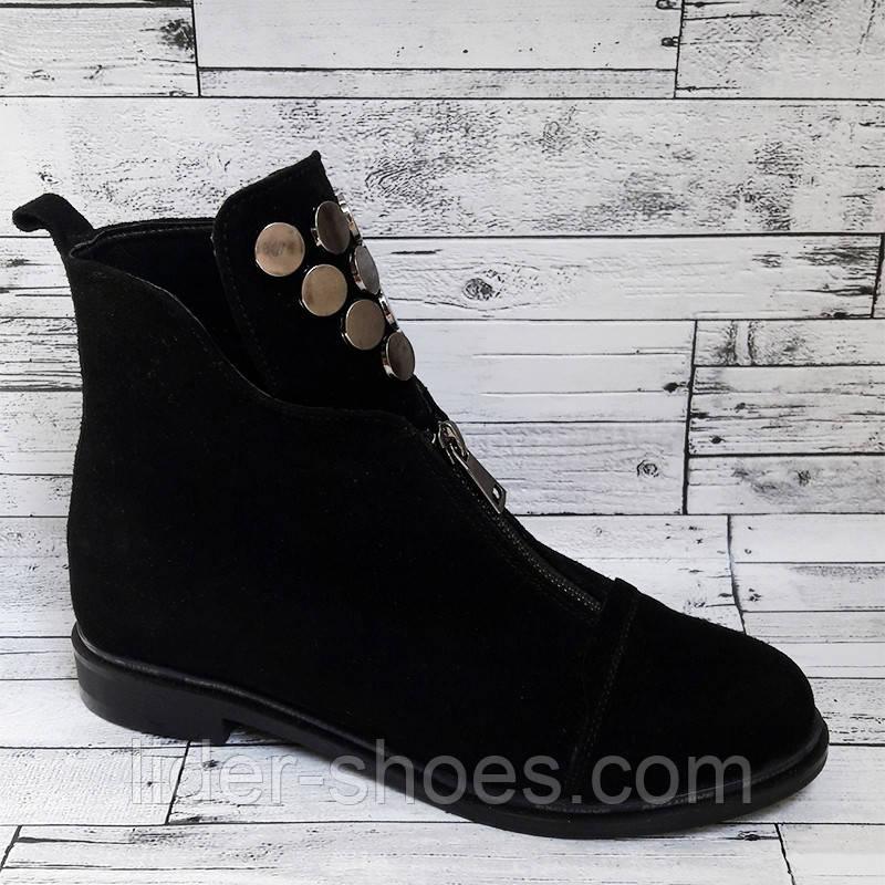 Женские ботинки на низком ходу замша