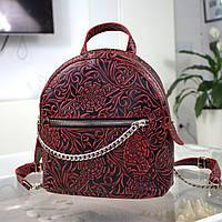 """Женский кожаный рюкзак """"Judy"""" черный с красным с цветочным принтом, фото 1"""