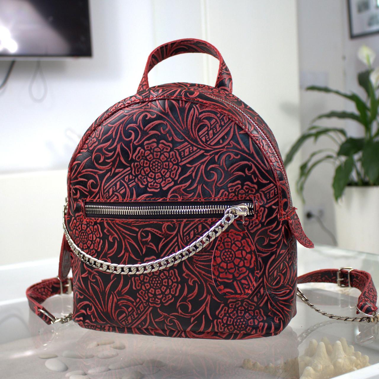 """Женский кожаный рюкзак """"Judy"""" черный с красным с цветочным принтом"""