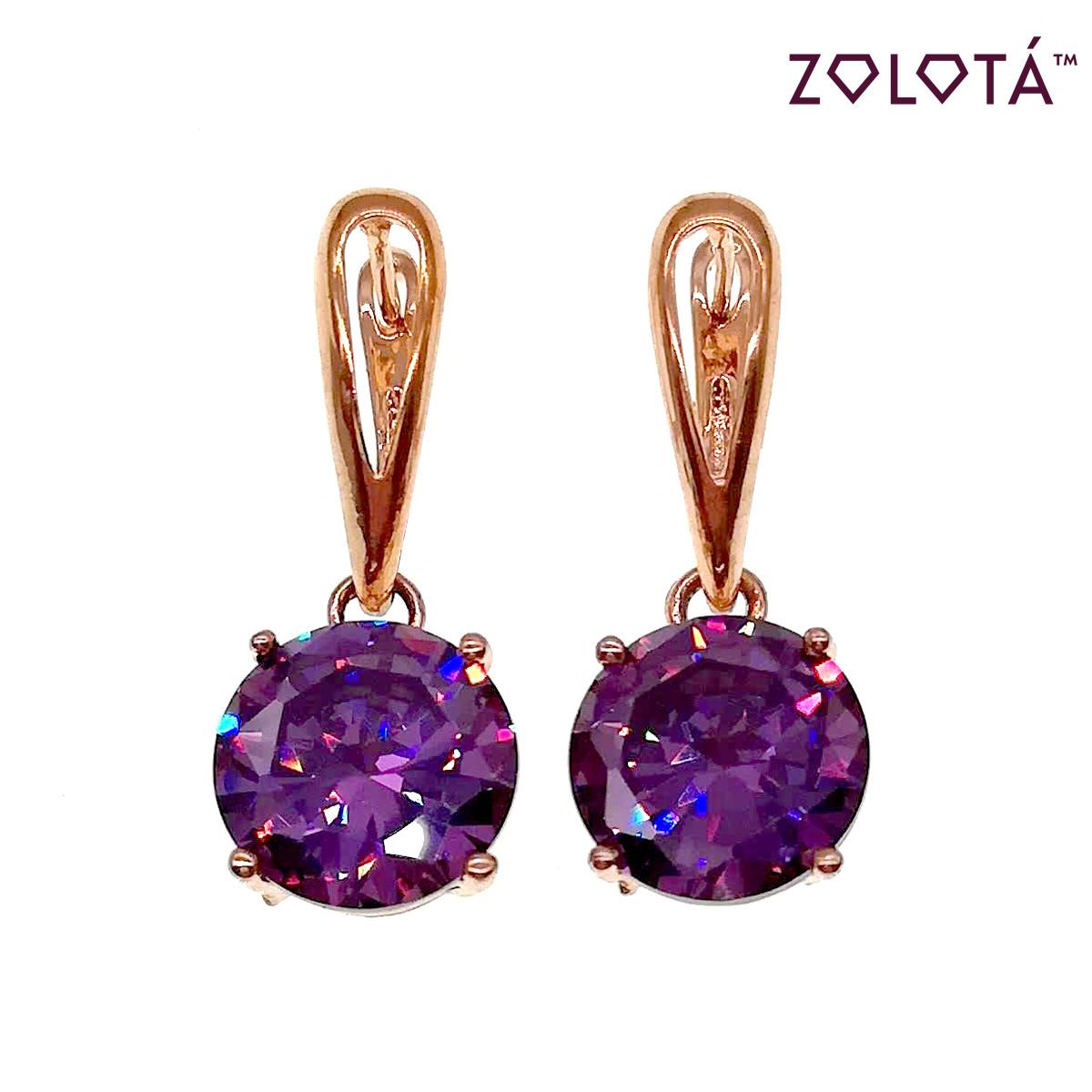 Серьги Zolota с фиолетовыми фианитами (куб. цирконием), из медицинского золота, в позолоте, ЗЛ00530 (1)