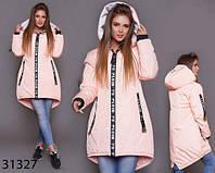 Демисезонная удлиненная куртка с надписями капюшон р. 42-44, 46-48