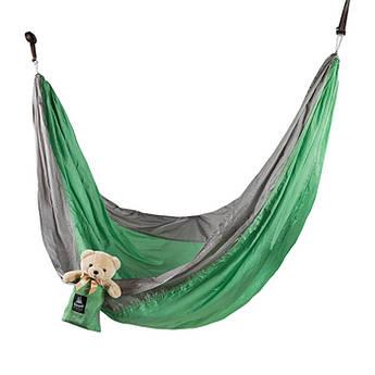 """Гамак GreenCamp """"CANYON"""", 310*220 см, парашютный шелк, серый/зеленый, крепеж, до 180кг."""