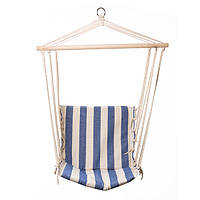 Гамак сидячий, деревянная планка, х/б,  483В-3, синий в бел.полоску