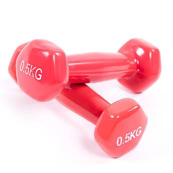 Гантели для фитнеса 0,5кг, винил, пара