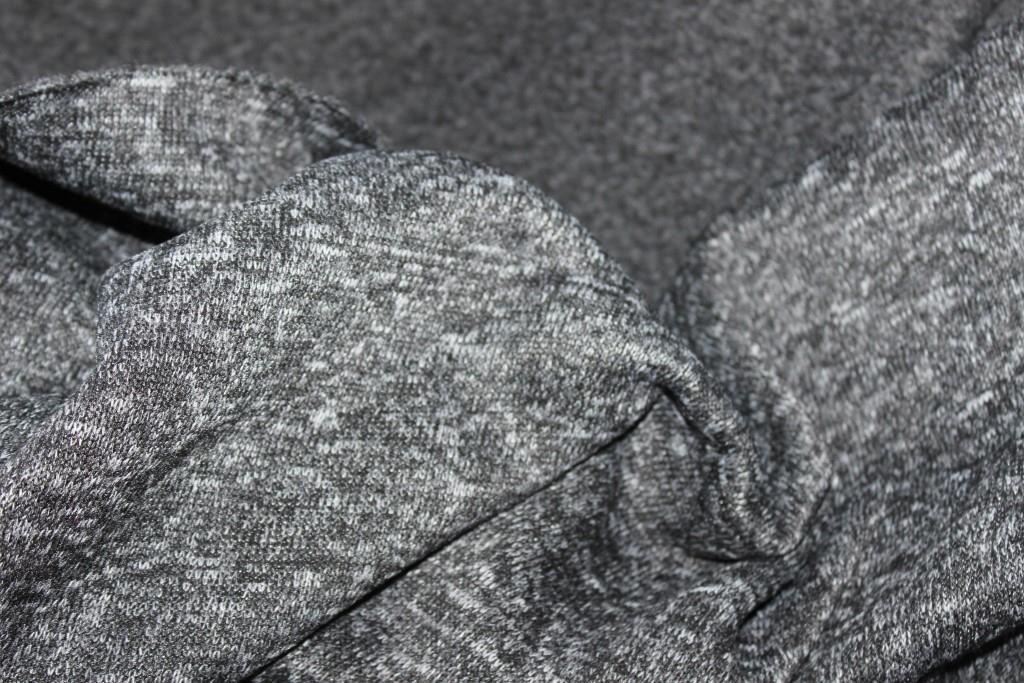 Ткань вязка спорт на флисе. плотный, жесткий, серый темный меланж, №121, фото 1
