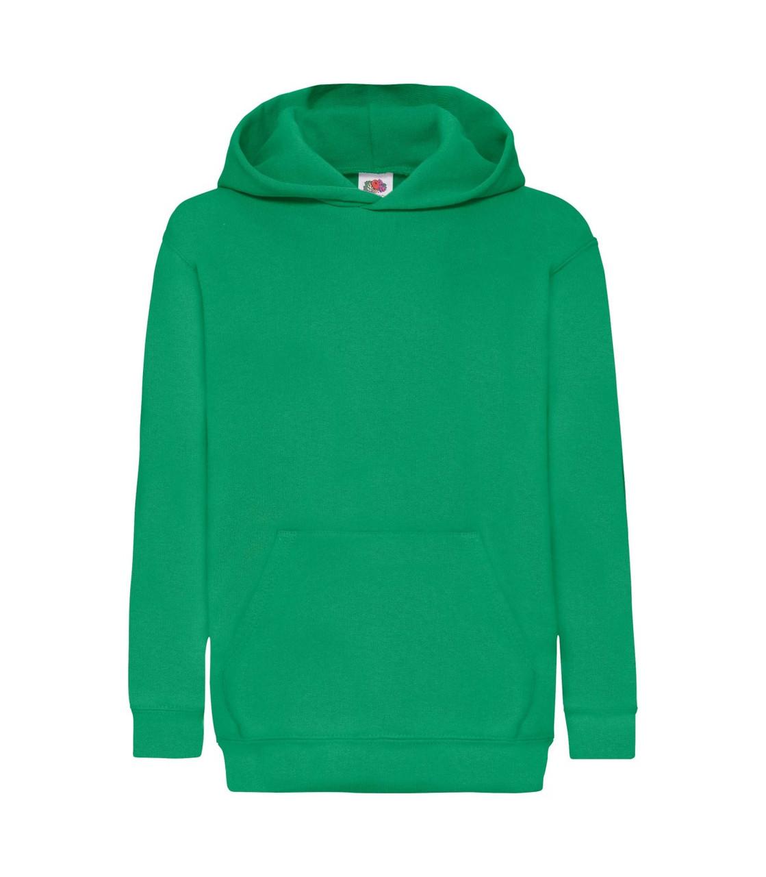 Детская толстовка с капюшоном утепленная зеленая 043-47