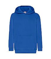 Детская толстовка с капюшоном утепленная синяя 043-51