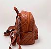Рюкзак женский кожзам Стеганый Коричневый, фото 5