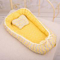 Кокон с ортопедическим матрасом и подушкой ТМ BetiS 27681717 жёлтый цвет