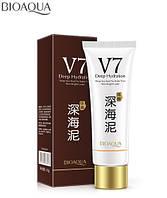 Отбеливающая маска для лица и тела Bioaqua V7 Deep Sea Mud с глиной и гиалуроновой кислотой (150г)