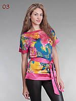 Блузка атласная с поясом малиново-бирюзовая 44