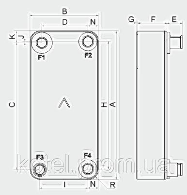 Паяный теплообменник-испаритель Swep V200 ― схема, размеры