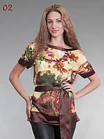 Блузка атласная с поясом бежево-коричневая 44