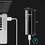Электроимпульсная USB зажигалка SUNROZ TH-752 Black + Сумка через плечо Серая (n-346), фото 2