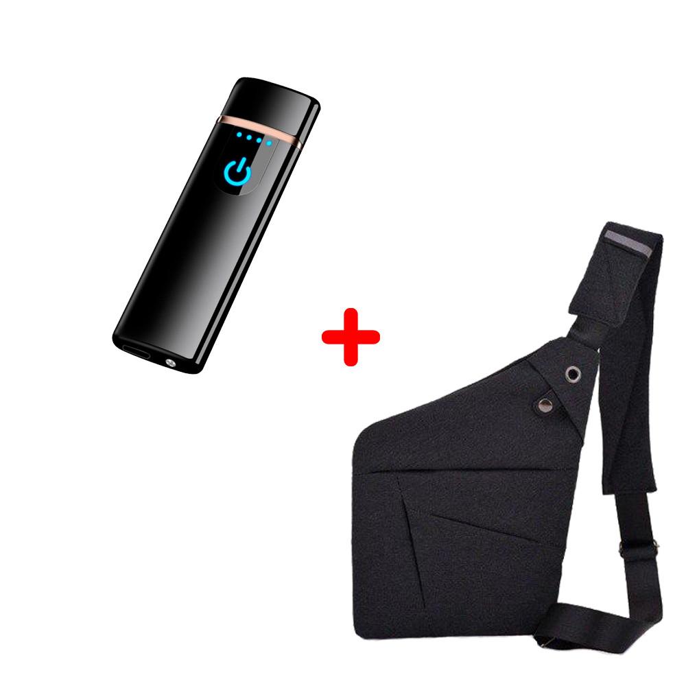 Электроимпульсная USB зажигалка SUNROZ TH-752 Black + Сумка через плечо Серая (n-346)