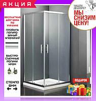 Душевая кабина квадратная 90х90 см двери раздвижные Dusel А-513 стекло прозрачное