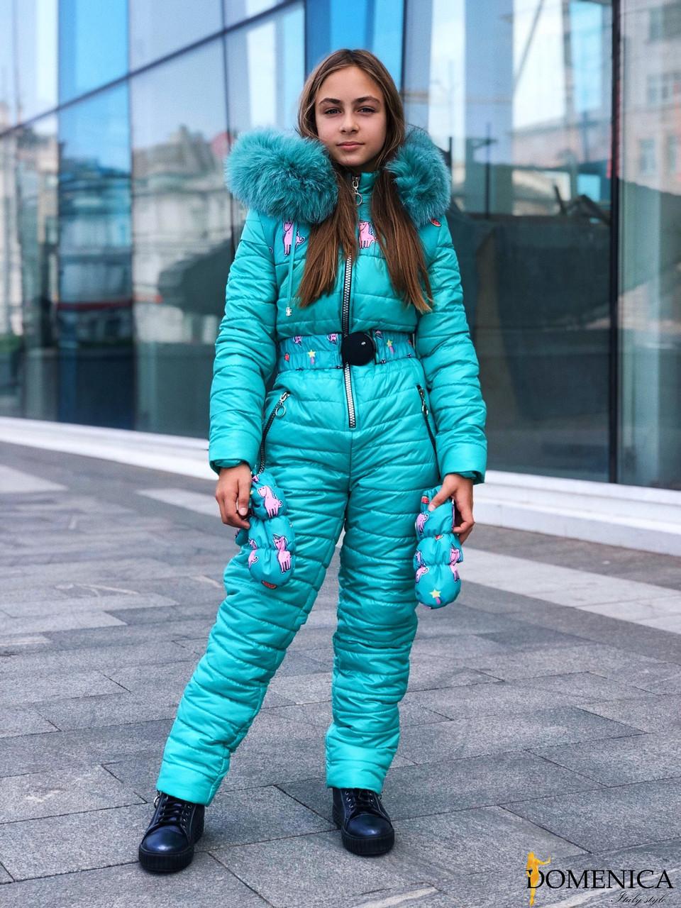 Подростковый зимний комбинезон горнолыжный с капюшоном и мехом 31gk35