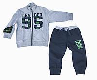 Детский утепленный спортивный костюм с начесом для мальчика iDO Италия 4.N695.00 Серый 80 см