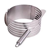 Форма для бисквита Kamille KM-7788 регулируемая 15*22 см с отверстием для нарезки и ножом, фото 1