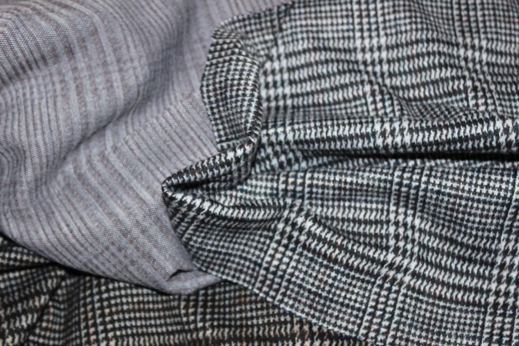 Ткань трикотаж осенний, плотный,  стрейч, клетка светлая  пог. м. № 137, фото 1