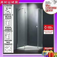 Пятиугольная душевая кабина 100х100 см дверь распашная Dusel А-715 стекло прозрачное