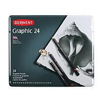 Набор графит.карандаш. Graphic Designer в мет.короб. 24шт.(ассорти 1х 9Н-3Н, Н, F, B, 3B, 5B-9B и 2х 2H, HB, 2B, 4B), Derwent