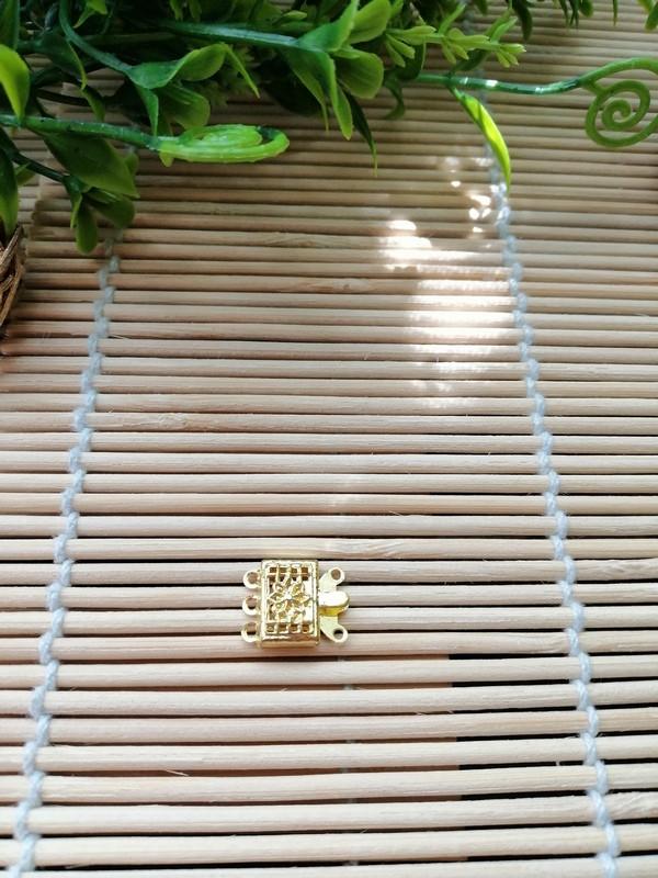 Застежка на 2 нити, золото, 9х14 мм