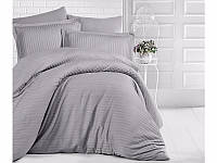 Комплект постельного белья Двуспальный Евро Страйп Сатин 200х220 Clasy Серый