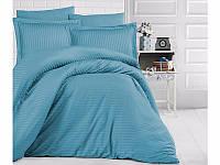 Комплект постельного белья Двуспальный Евро Страйп Сатин 200х220 Clasy Бирюза