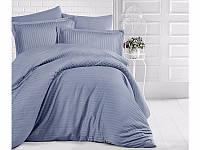 Комплект постельного белья Двуспальный Евро Страйп Сатин 200х220 Clasy Антрацит