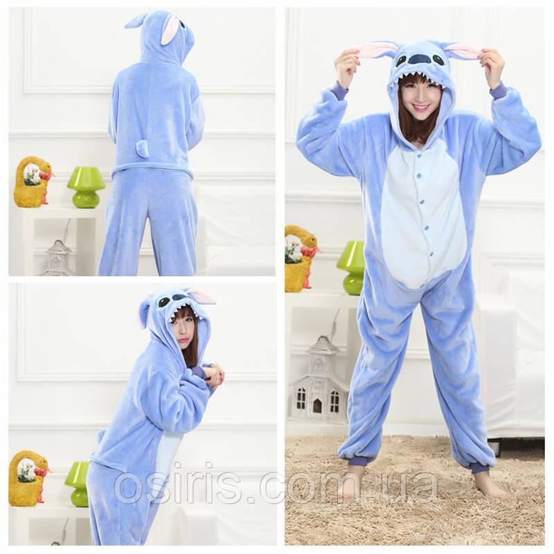 Пижама Кигуруми Стич синий микрофибра Размер S M L XL / взрослые и детские кигуруми