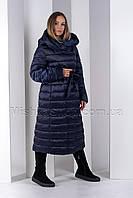 Классический длинный пуховик под пояс больших размеров синего цвета Money&You MY050, фото 1