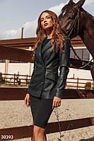 Удлиненный кожаный пиджак