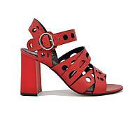 Женские натуральные кожаные красные классические босоножки на высоком толстом каблуке Турция