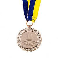 Медаль наградная с лентой, d=45 мм, серебро.