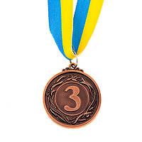 Медаль наградная с лентой, d=45 мм, бронза.