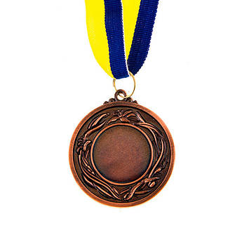 Нагородна Медаль з стрічкою d=53 мм, бронза.