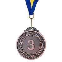 Медаль наградная с лентой, d=60 мм, бронза.