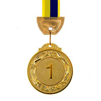 Нагородна Медаль з стрічкою d=60 мм, золото.