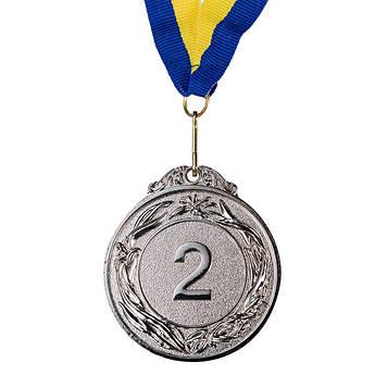 Медаль наградная с лентой, d=60 мм, серебро.