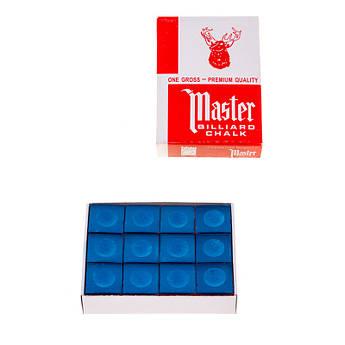 Мел бильярдный для кия Master, 12шт в упаковке , синий..
