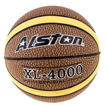 Мяч баскетбольный Alston  Official, коричневый с желтой полосой  №7