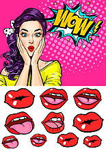 Вафельная картинка Wow с губами
