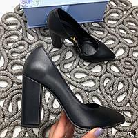 41 р. Туфлі жіночі чорні шкіряні на високому каблуці, з натуральної шкіри, натуральна шкіра, фото 1