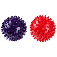 Мяч массажный, диаметр 7см. Красный, фиолетовый