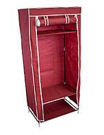 🔝 Тканевый шкаф, бордовый, односекторный, портативный шкаф для одежды   🎁%🚚