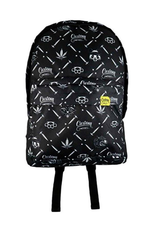Черный городской рюкзак с белым рисунком
