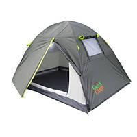 Палатка 2-х местная GreenCamp 1001-A, серая.
