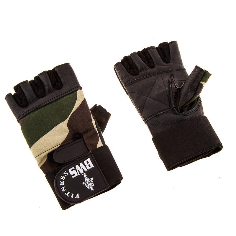 Перчатки атлетические ARMY кожа, напульсник, черные L..